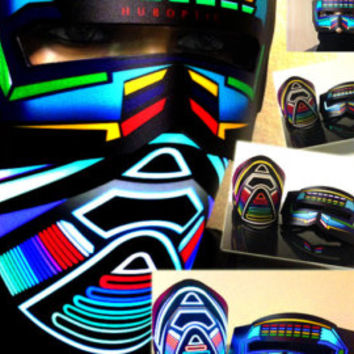 Rave Mask Bandana LED JOG Light Up Mask - Futuristic Raver Cyborg Sound Reactive Mask for Cyborg Robot Edm Dj Mask Cop tron costume Glow LED