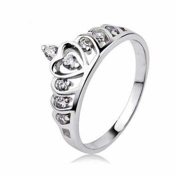 Fashion Sterling Silver 925 Austrian Crystal Crown Queen Princess Ring