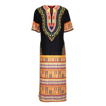 Short Sleeve African Print Dress Casual #39