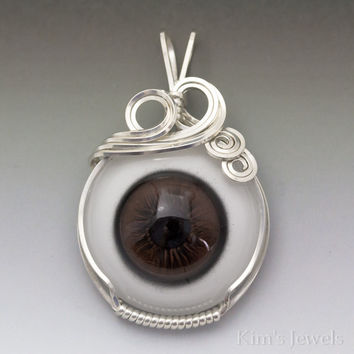 Brown Glass Eye Eyeball Sterling Silver Wire Wrapped Pendant