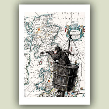 Sailor on lookout duty in the crow's nest Print, 5x7 Print on old  Britannia map, Nautical  Art Print, Matte Print 5x7