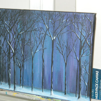 Winter in the Woods, Beautiful, Blue, Teal and Purple Home Decor, 8x10 Painting, Nature Acrylic Painting, Acrylic Snow Painting