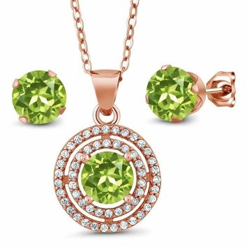 3.34 Ct Round Green Peridot 925 Rose Plated Sterling Silver Pendant Earrings Set