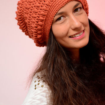 Orange winter hat, merino wool beanie hat, Women's hats, fall colors hat, winter 2016, orange beanie, Gift idea for daughter.