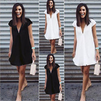 Sexy Women Summer Deep V-Neck Dresses Casual Plus Size Short Mini Black Dress New 2017
