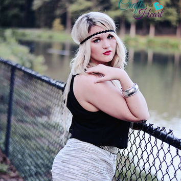 Black Boho Headband - Adult Boho Headband - Forehead Headband - Hippie Headband - Halo Headband - Black Rosette Boho -Fashion Headband- Halo