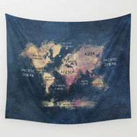 World Map Oceans and Continents Wall Tapestry by Jbjart | Society6