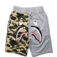 Shark Puzzle Camouflage Shorts Men Casual Short Pants Cotton Fabrics