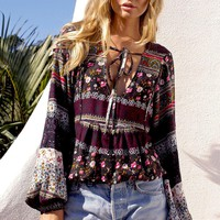 Boho Fashion Women Blouses Casual V-Neck 3/4 Sleeve Hippie Floral Print Shirt Blusas Female Tops