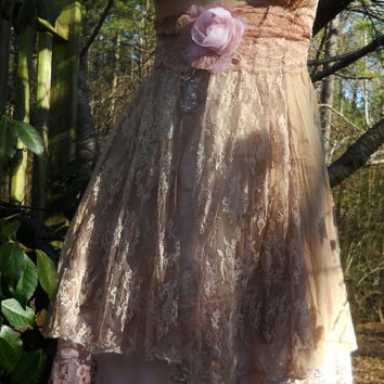 Beige lace dress tea stained beaded bride wedding satin   rose  vintage  romantic  medium  by vintage opulence on Etsy
