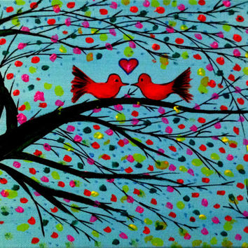 Valentine Gift Canvas art Colorful Valentine Love birds wall art tree Wall decor Lovers gift acrylic painting Bird on tree Wedding gift aqua