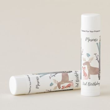 Baby Woodland Animals Birthday Favors Lip Balm