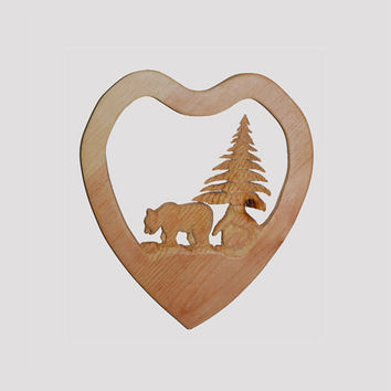"Carved Wooden Valentines Bear Scene named ""Forest Love"" - Free Shipping! Wood Creation by Cody Burns in Girdwood AK, Gift idea for Loved One"