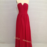 Custom Red Chiffon Wedding Dress/Bridesmaid dress/Long Prom Dress  2014 New Arrive
