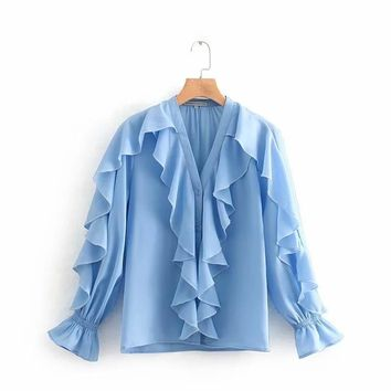 2019 new lady fashion print dresscascading ruffle v neck women shirt fashion butterfly sleeve blouse solid color loose tops casual feminina chemise S5103