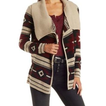 Rust Combo Collared Aztec Cardigan Sweater by Charlotte Russe