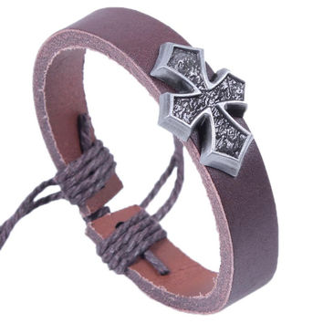 Middle Ages Cross charm bracelet Fashion punk hipsters jewelry Retro leather bracelet Faith Religious bracelet Adjustable braided Bracelet