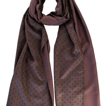 Urbino-Double Face Heavy Weight Silk Scarf-Brown