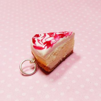 Raspberry Swirl Cheesecake Slice