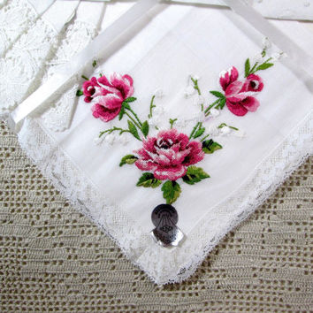 Vintage Handkerchiefs Pink Roses Wedding Bridal Lace Hand Embroidery Swiss Hankies Set of 3 MWT Tag Unused Mint