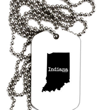 Indiana - United States Shape Adult Dog Tag Chain Necklace