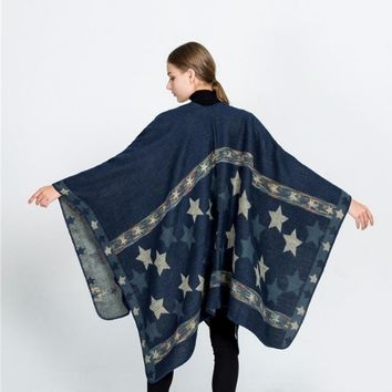 2017 Autumn and Winter Cape For Women Star Pattern Fork Shawls and Wraps Large Warm Cashmere Scarf Pashminas Para Mujer Female