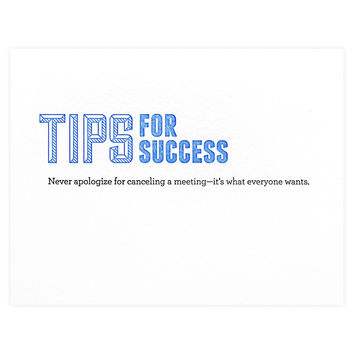 Tips for Success Canceled Meeting Greeting Card