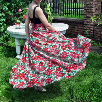 Maxi Skirt, Long Floral Skirt, Plus Size Skirt, High Low Skirt, Peplum Skirt, Floor Length Skirt, Roses Print Maxi Skirt, Bridesmaid Skirt
