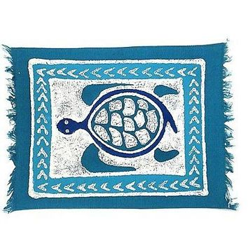 Handpainted Blue Sea Turtle Batik Placemat - Tonga Textiles