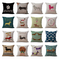 "Square 18"" Cotton Linen Cute Dachshund Dogs Office Chair Back Waist Cushion Cover Fashion Couch Seat Pillow Case N0118"