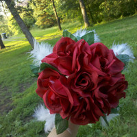 Rose Bridesmaid Bouquet, Bridal Bouquet, Wedding, Fabric Flower, Red, Turquoise, Ivory Feathers, Leaves, Crimson, Vintage Weddings, Bouquet