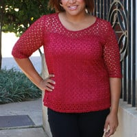 Won't Give Up Crochet Lace Tunic With Sweetheart Neck Line ~ Magenta ~ Sizes 12-18