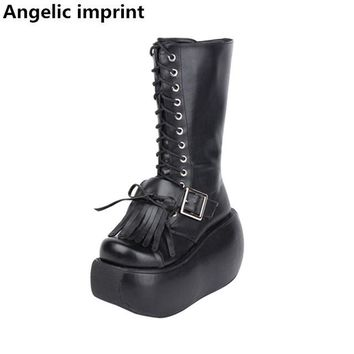 Angelic imprint mori girl Women punk motorcycle boots lady lolita Boots woman high trifle heel wedges pumps shoes 10cm fringe