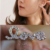 rhinestone love letter OL earrings/Ear Ring/Stud