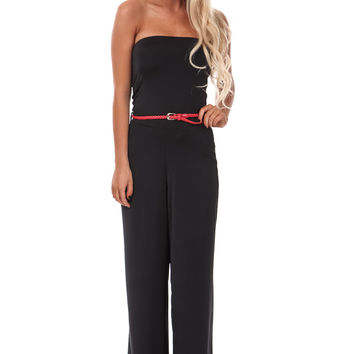 Black Strapless Belted Jumpsuit