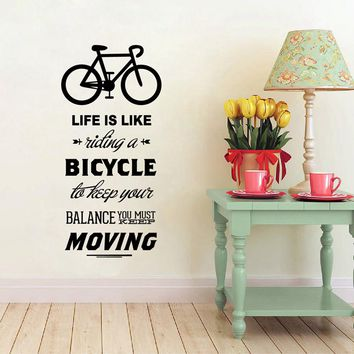 Life Is Like Riding A Bicycle Quote Bike Sport DIY Vinyl Art Wall Decor Stickers Wallpapers Home Decoration