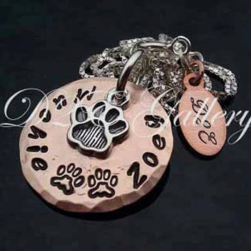 D2E hand stamped personalized lucky penny and sterling silver pet lover necklace pawprint