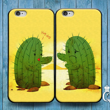 iPhone 4 4s 5 5s 5c 6 6s plus + iPod Touch 4th 5th 6th Generation Cute Best Friend Couple Bf Gf Hug Kiss Phone Case Funny Cactus Plant Cover