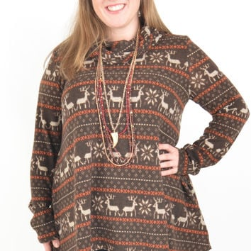 Women's Chocolate and Rust Reindeer Patterned Top with Cowl Neck