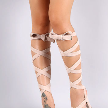 Vegan Suede Open Toe Lace Up Sash Chunky Heel