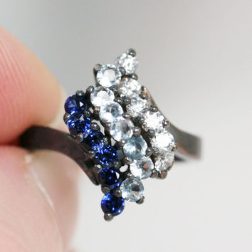 Oxidized Blue Sapphire, Aquamarine, and White CZ Waterfall Ring Sterling, Oxidized Sterling Ring, Oxidized Ring, Multi Stone Ring