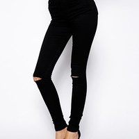 ASOS PETITE Ridley Skinny Jeans in Clean Black with Ripped Knees