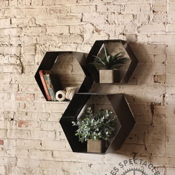 Set Of 3 Metal Hexagon Wall Cubbies