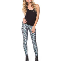 Green and Grey Gradient Crisscross Printed Leggings