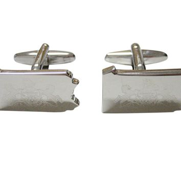 Pennsylvania State Map Shape and Flag Design Cufflinks