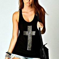 BLACK SILVER CROSS STUDDED TANK