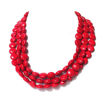 Chunky red necklace - statement necklace,  fall necklace - bridesmaids necklace - red wedding jewelry