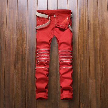2016 New Mens Knee Zipper Jeans red  Destroyed Ripped Hole Jeans Nightclubs Skinny Denim Pants  fashion street zipper trousers