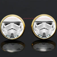 Star Wars Stormtrooper gold plated stud post earrings,science fiction earrings,girlfriend gift Bridesmaid Gift