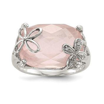 925 Sterling Silver with Rose Quartz and White Sapphire Ring